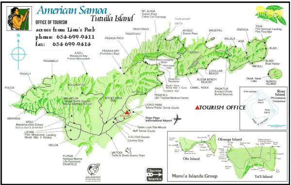 Visitor Information - Map of american samoa